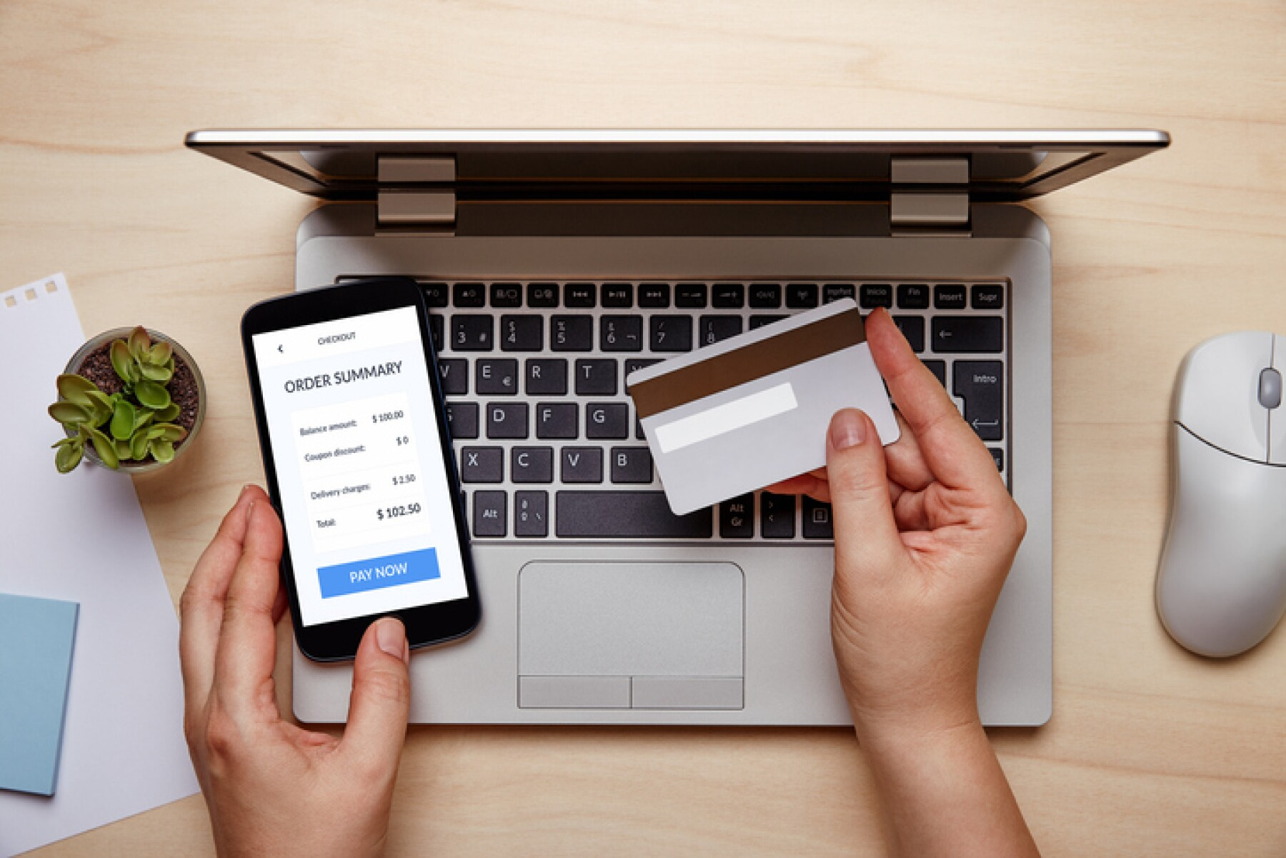 Woman making online credit card payment