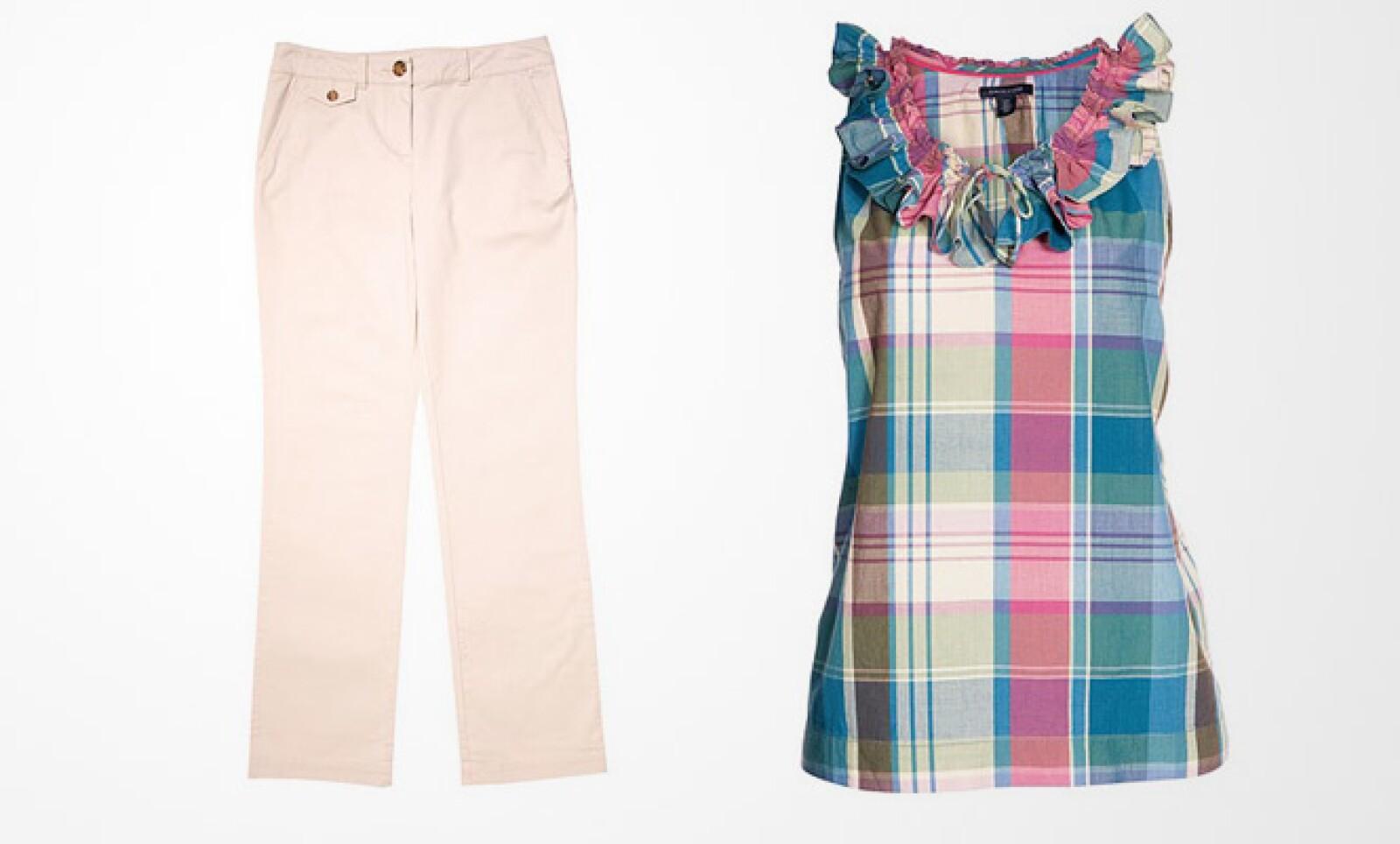 Para las damas, un vestido con manga cisa y colores pastel, que puedes combinar con un pantalón de algodón y tono beige.
