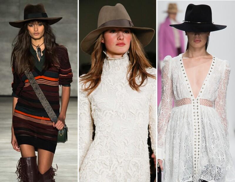 """Rebecca Minkoff, Ralph Lauren y Zimmermann indican que los sombreros con toque """"vaquero"""" son un must-have para otoño 2015."""