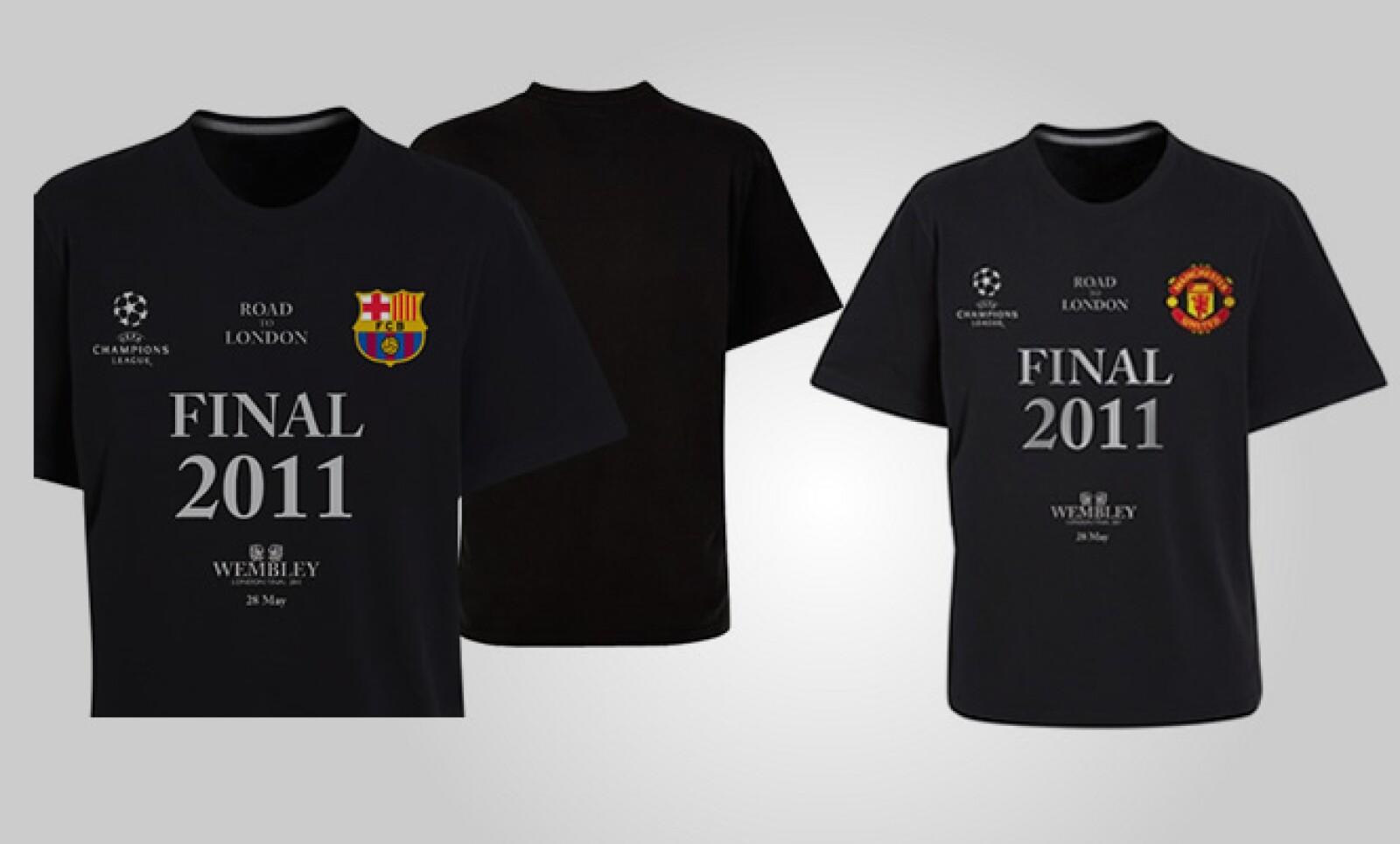 Las camisetas oficiales de la final de la Champions League tienen un costo de 14.99 libras, poco más de 287 pesos más envío.