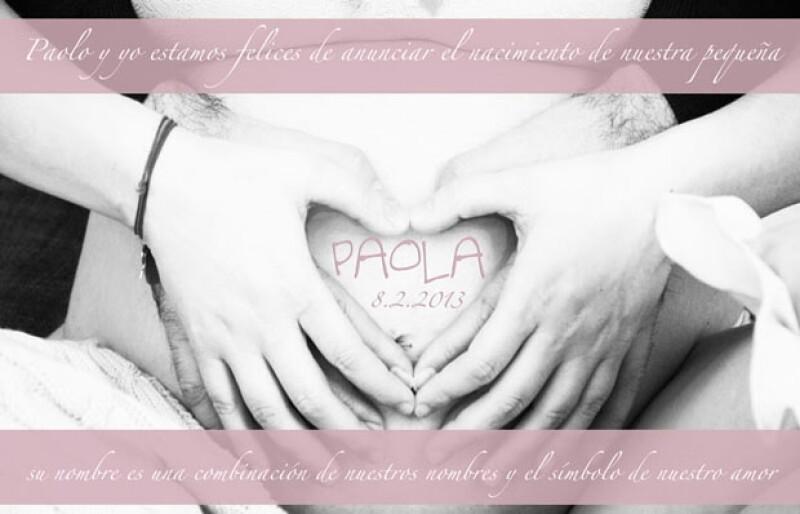 La cantante italiana y el músico Paolo Carta están muy felices de dar la bienvenida a su pequeña hija.