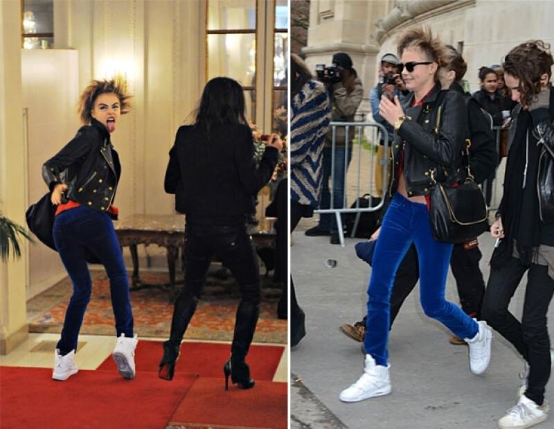 Michelle Rodriguez acompañó a Cara a la pasarela de Chanel, donde la inglesa modeló.