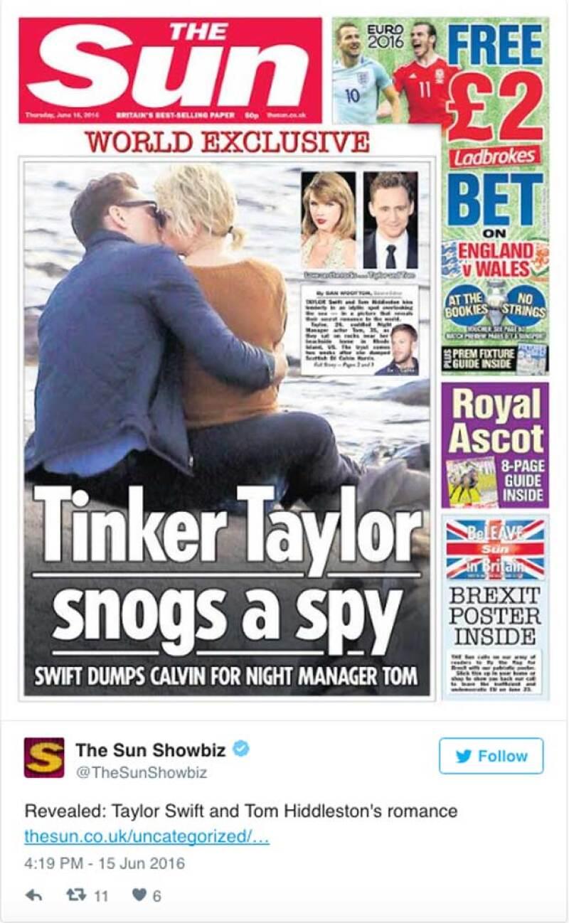 The Sun destapó el romance entre Taylor y Tom, el cual habría iniciado sólo unos días después de que la cantante anunció su truene con Calvin Harris.