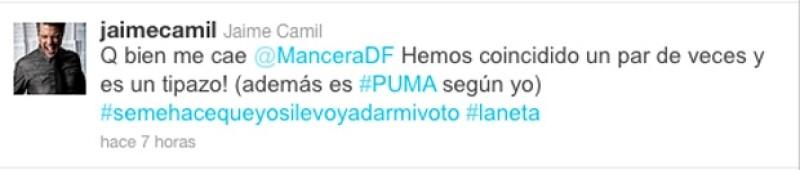 Este fue el mensaje que publicó Camil en Twitter.