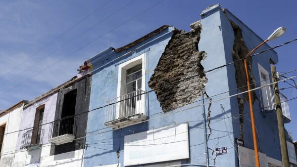 Casa dañada en Puebla por el 19S