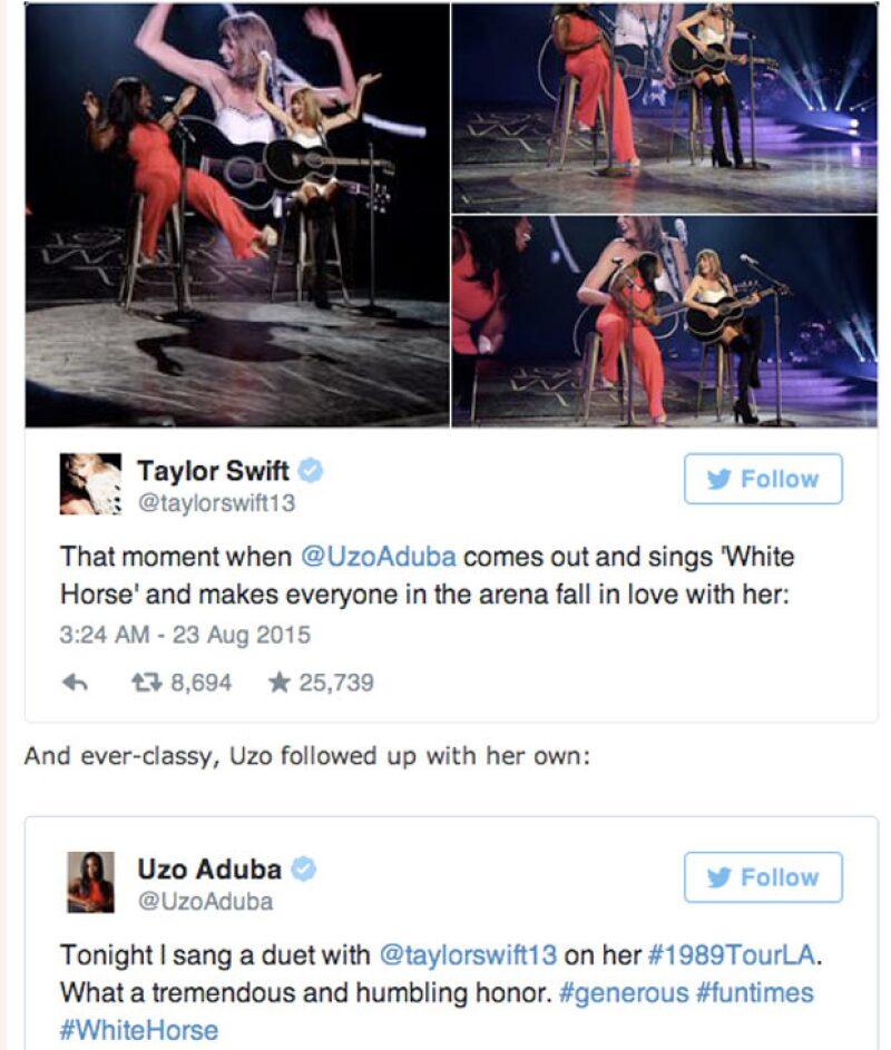 Taylor Swift y Uzo Aduba cantaron White Horse en Los Angeles en el Staples Center. Después de eso comentaron el twitter la experiencia.