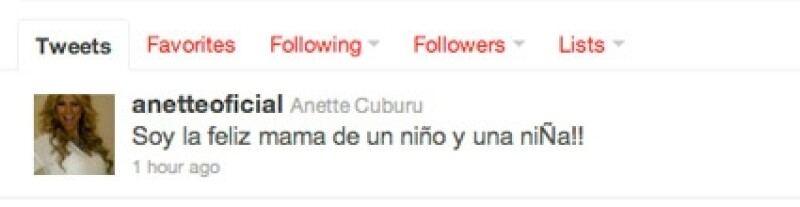 Anette anunció por Twitter la llegada de sus bebés.