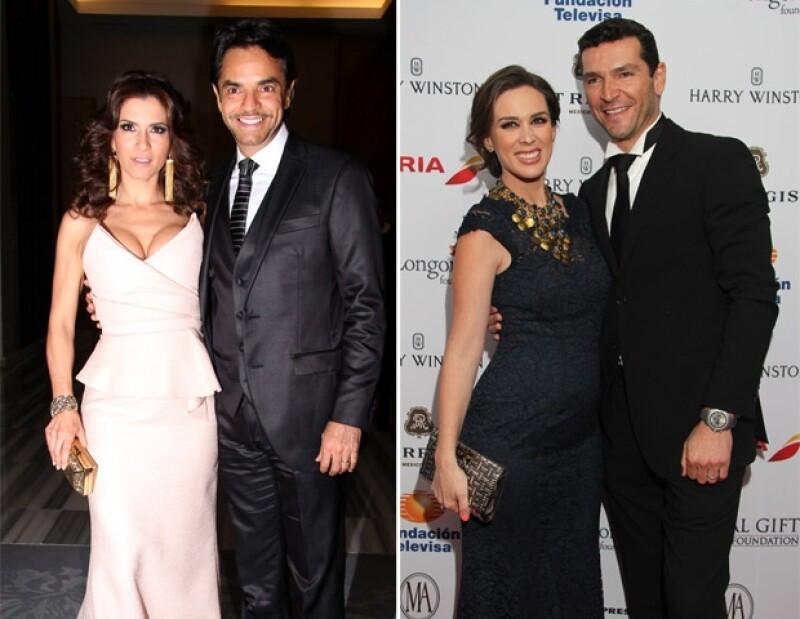 Los futuros papás: Alessandra y Eugenio, y Jacky y Martín.