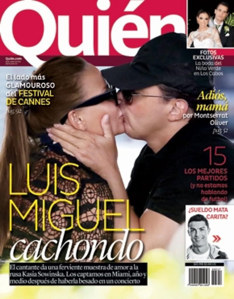 Tremendo beso entre Luis Miguel y su novia.