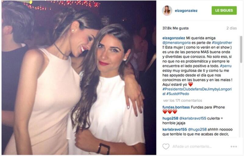 Unos pocos días después de que entró a Big Brother, Eiza González utilizó su cuenta de Instagram para expresarle su apoyo.