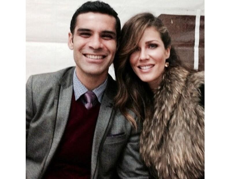 La pareja durante la celebración de año nuevo.