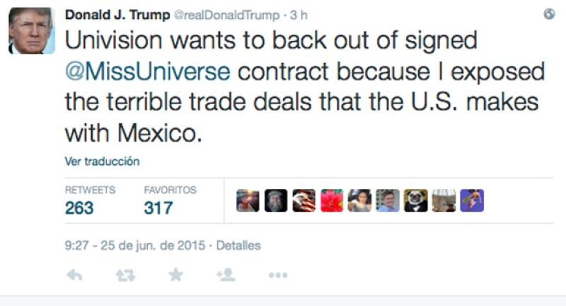 El padre de Ivanka Trump también acusó a Univisión de quererse deslindar del contrato con el programa Miss Universo por exponer los negocios entre Estados Unidos y México.