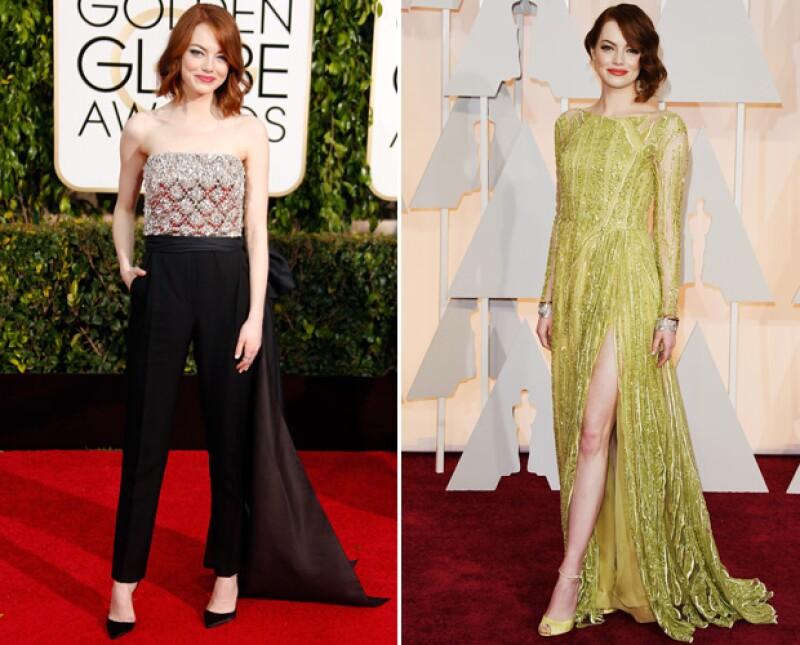 Emma llegó sin acompañante tanto a los Golden Globes como a los Oscar de este 2015.