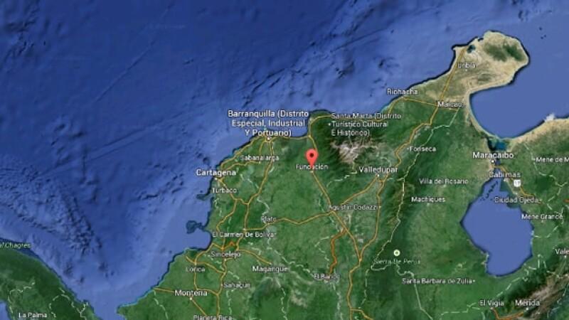 Un mapa de Colombia en el que se muestra Fundación, lugar donde murieron al menos 16 menores de edad