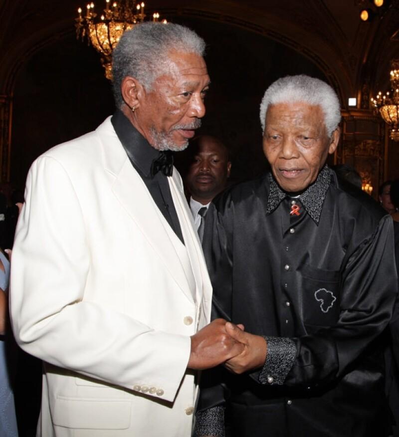 Morgan Freeman y su amigo en septiembre de 2007.
