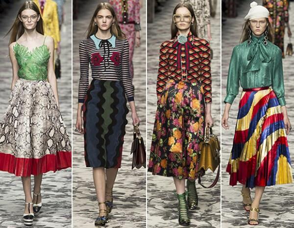 Las faldas midi son un must definitivo también para Gucci.