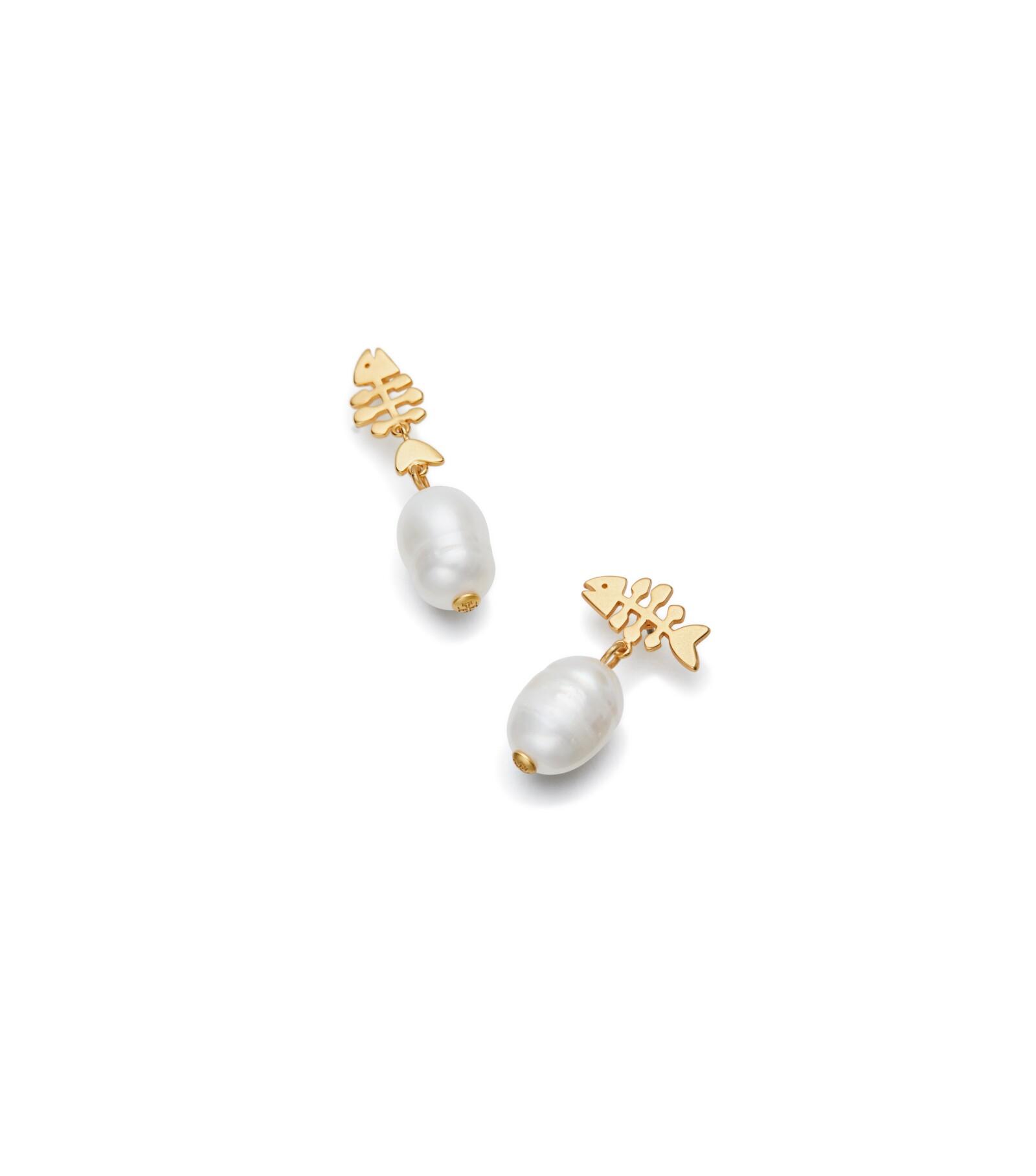 TB Fish And Pearl Drop Earrings 55243 in Vintage Gold, Pearl.jpg