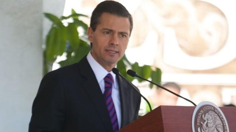 El presidente Enrique Peña Nieto durante su mensaje en el Día de la Armada