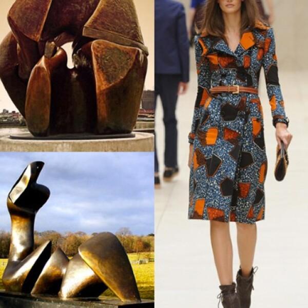 Formas primitivas y una paleta de colores terrosos integran la propuesta del diseñador escocés Christopher Bailey quien retoma las esculturas del artista Henry Moore.