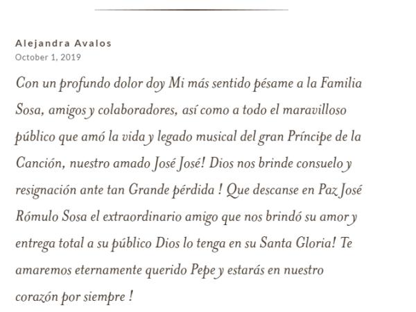 Condolencia Alejandra Avalos