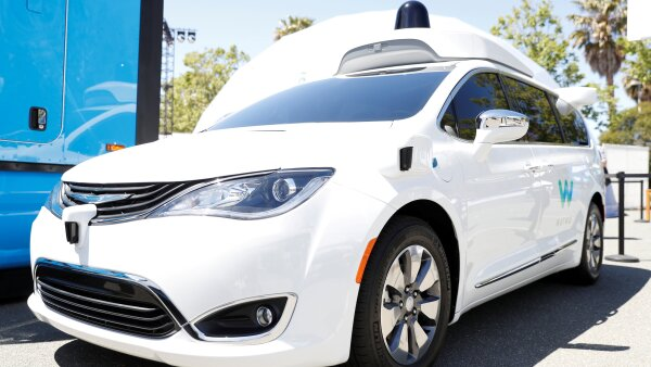 FILE PHOTO: A Waymo self-driving car is seen during the annual Google I/O developers conference in Mountain View, California