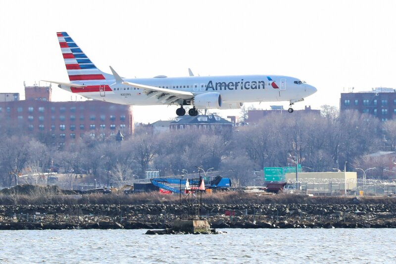 An American Airlines Boeing 737 Max 8, on a flight from Miami to New York City, comes in for landing at LaGuardia Airport in New York