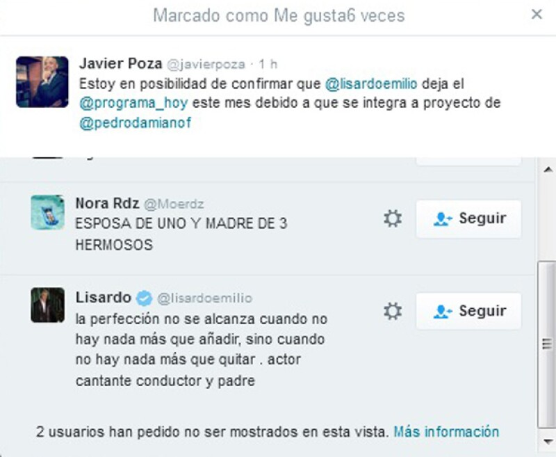 Este fue el tuit al que Lisardo marcó como like, para confirmar su salida de Hoy.