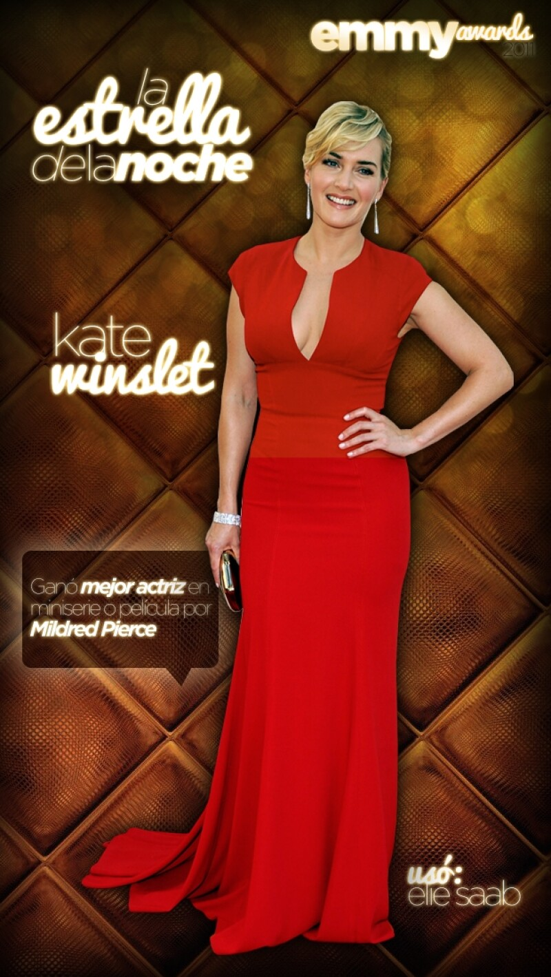 Luego de su actuación como madre soltera en la serie de drama `Mildred Pierce´, la británica se hizo acreedora a un Emmy, además de lucir espectacular en el evento.