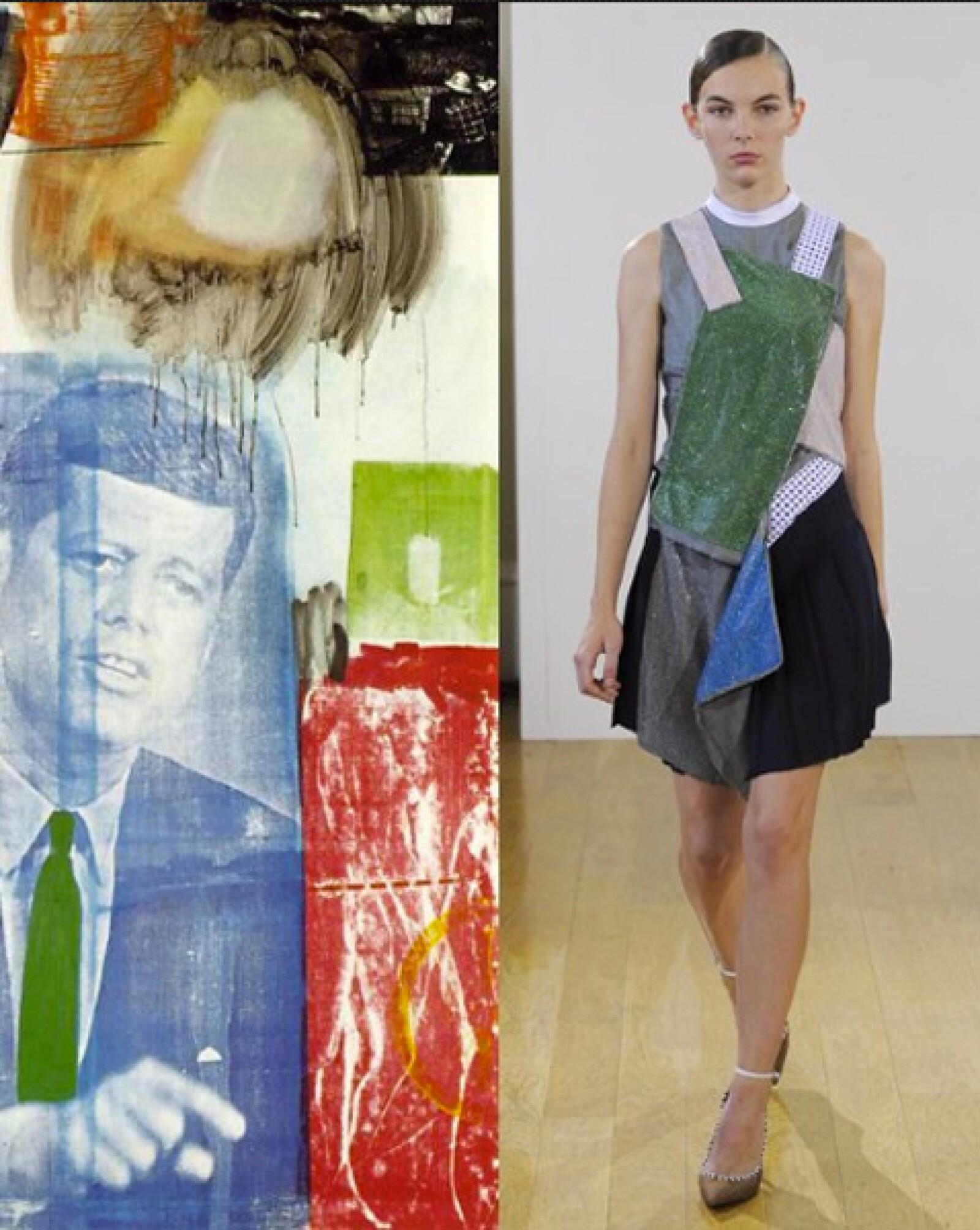 El estilo collage de las obras de Robert Rauschenberg inspiraron al creativo J.W. Anderson para la confección de sus siluetas destructuradas.