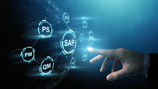 Business management software (SAP). ERP enterprise resources planning system concept