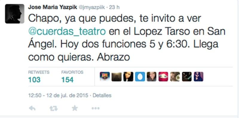 El actor José María Yazpik hasta invitó al narcotraficante a verlo actuar a su obra Cuerdas, ahora que está libre.