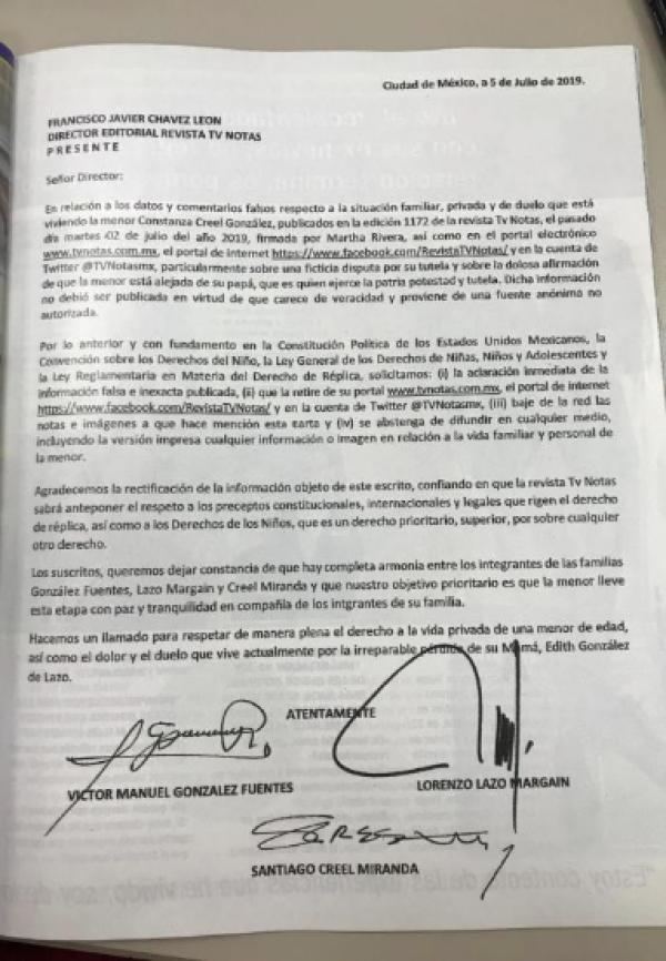 Carta firmada por Lorenzo Lazo, Víctor Manuel González y Santiago Creel.