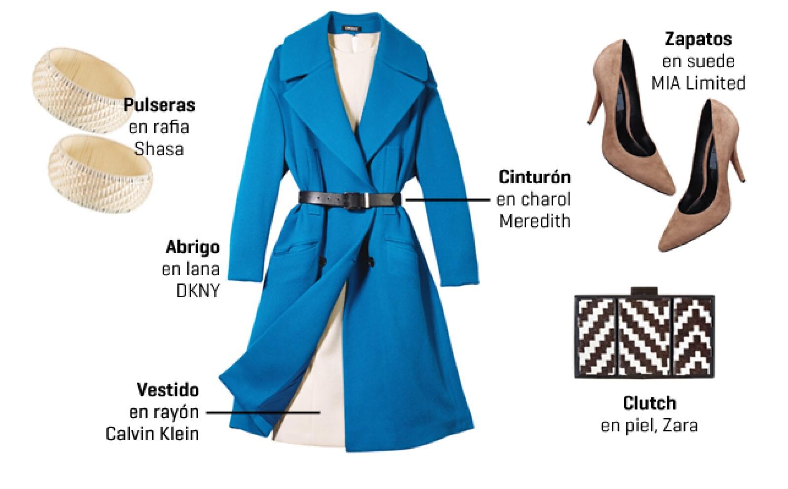 Controla el exceso de tela del abrigo con un cinturón, de esta forma las solapas se vuelven favorecedoras. Resalta el color del abrigo con un vestido en tono marfil, un bolso en print llamativo y zapatos color nude.
