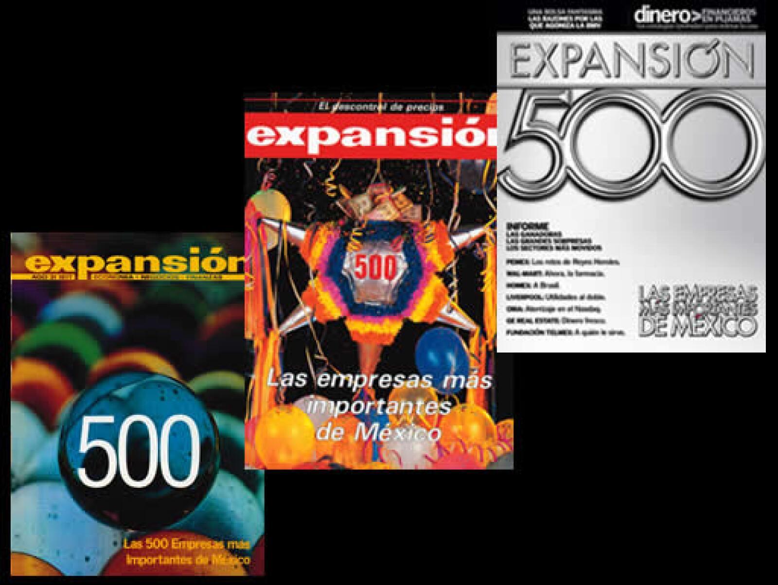 La primera encuesta de empresas realizada por esta revista se publicó en 1975. Ese año sólo hubo 350 participantes. El año siguiente fueron 400 y, por primera vez, en 1977 se llamaron las 500 empresas más importantes de México (izq).
