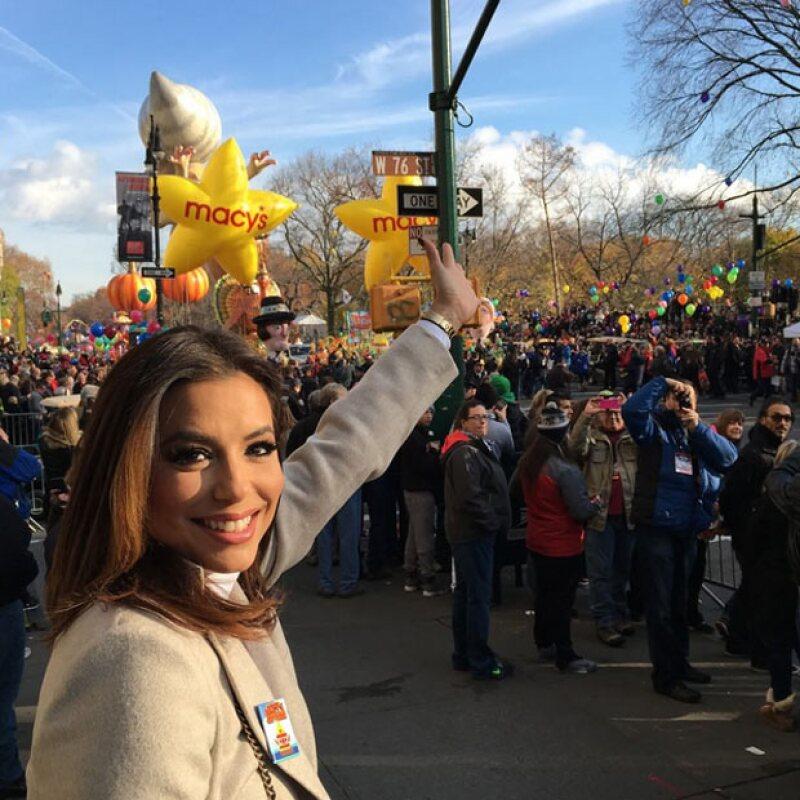 La actriz se encuentra en el Macys Parade en Nueva York.