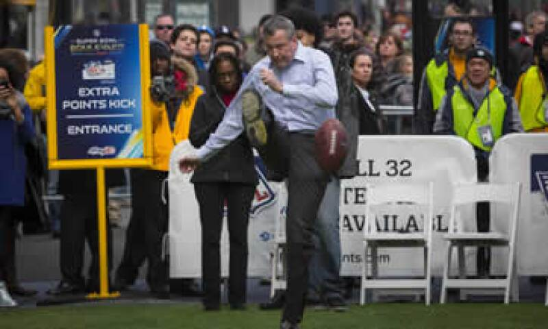 El alcalde de NY, Bill de Blasio, en los actos del Boulevard del Super Bowl. (Foto: Reuters)