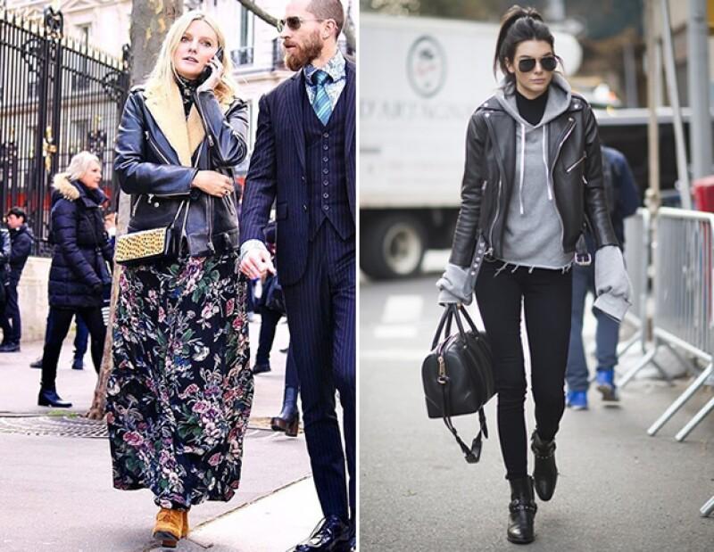 Kendall y Laura Brown de Harpers Bazaar coinciden en que una chamarra de piel es una prenda obligada en todo closet.