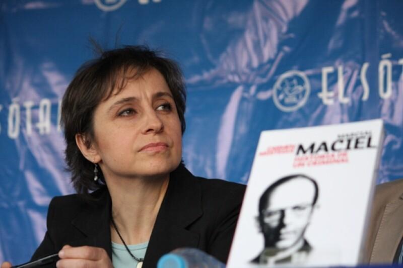 Carmen Aristegui en la presentación de su libro.