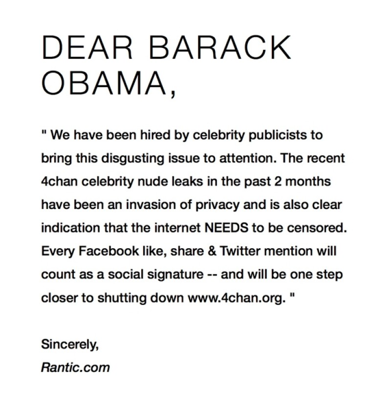 Rantic dirigió esta carta al presidente de Estados Unidos de parte de los publicistas de celebridades, cuyas identidades no fueron reveladas.