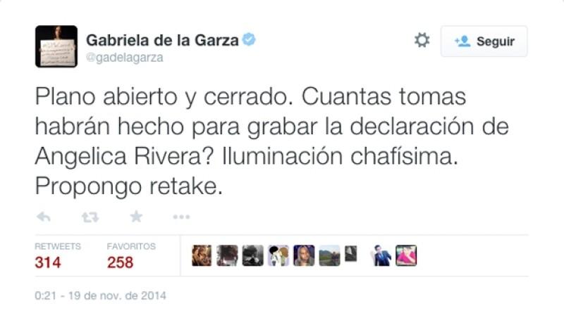 Gabriela de la Garza se ha mantenido consternada por el caso de Ayotzinapa y ahora compartió su punto de vista sobre la explicación de Angélica Rivera.