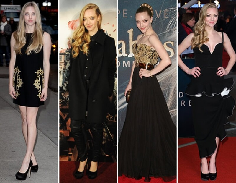 Amanda ha aprovechado el color de su piel y pelo, y los ha resaltado con outfits en color negro.