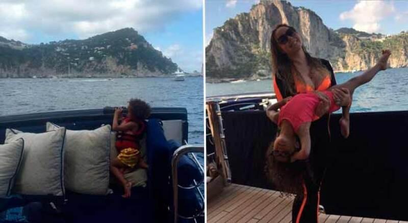 La cantante se encuentra acompañada de sus hijos en este viaje por Italia.