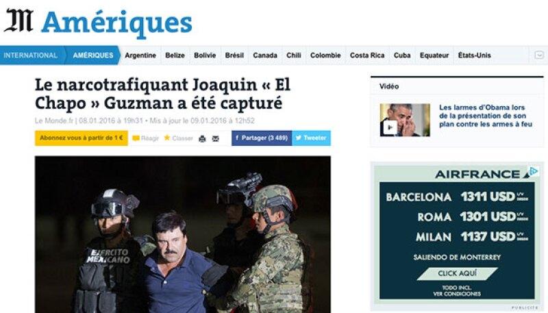 El periódico francés también cubrió la captura de 'El Chapo'.