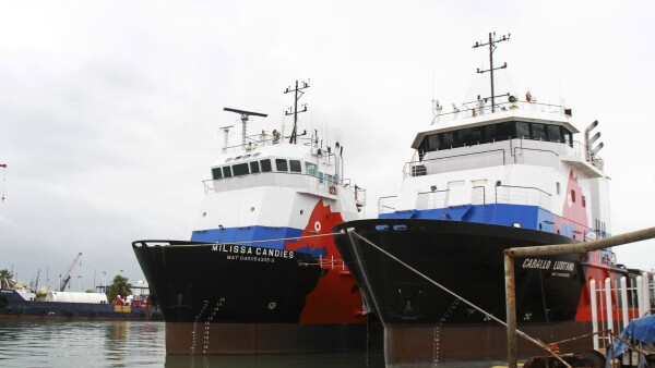 Two ships of Oceanografia are moored at a dock in the port in Ciudad del Carmen