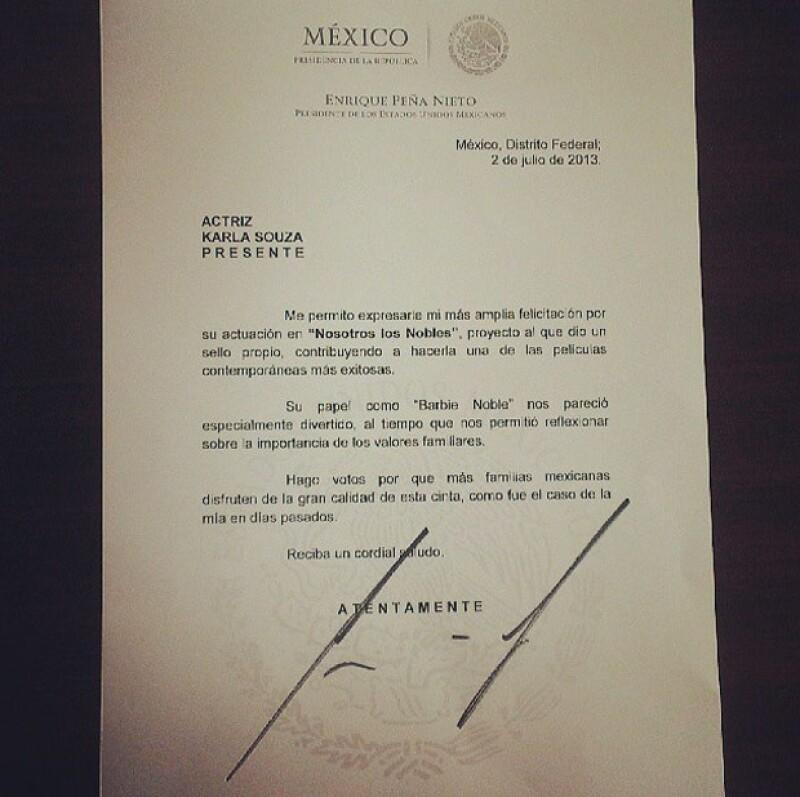 La actriz compartió en Instagram la carta que le envió el presidente Enrique Peña.