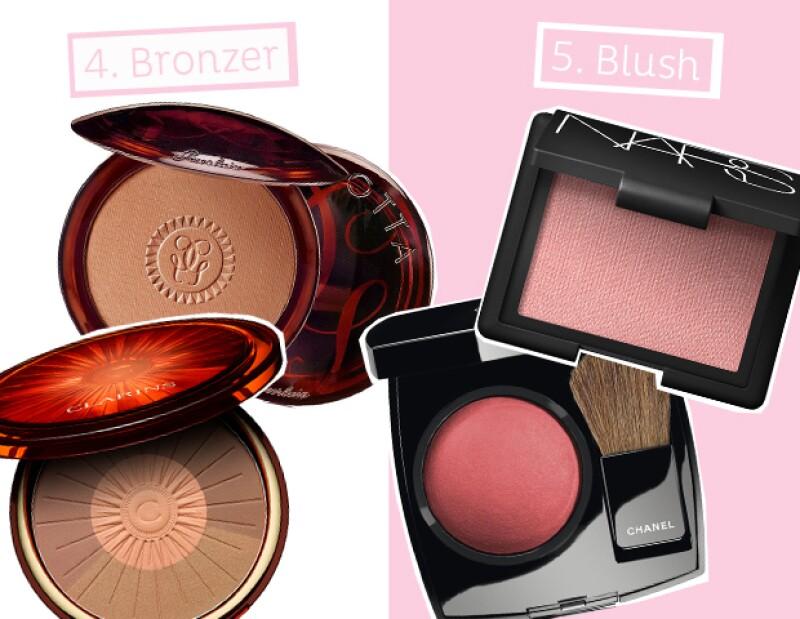 Bronzer: Guerlain, Clarins. Blush: Nars, Chanel.