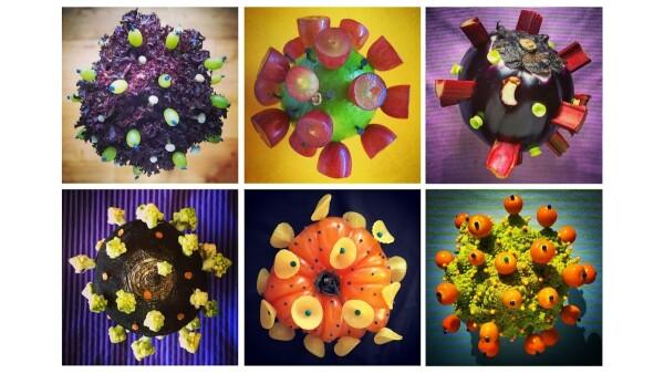 Un artista británico esculpe cada día un coronavirus con frutas y verduras