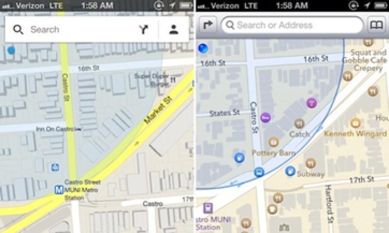 Izquierda: Google Maps, derecha: Apple Maps (Foto: Cortesía Fortune)