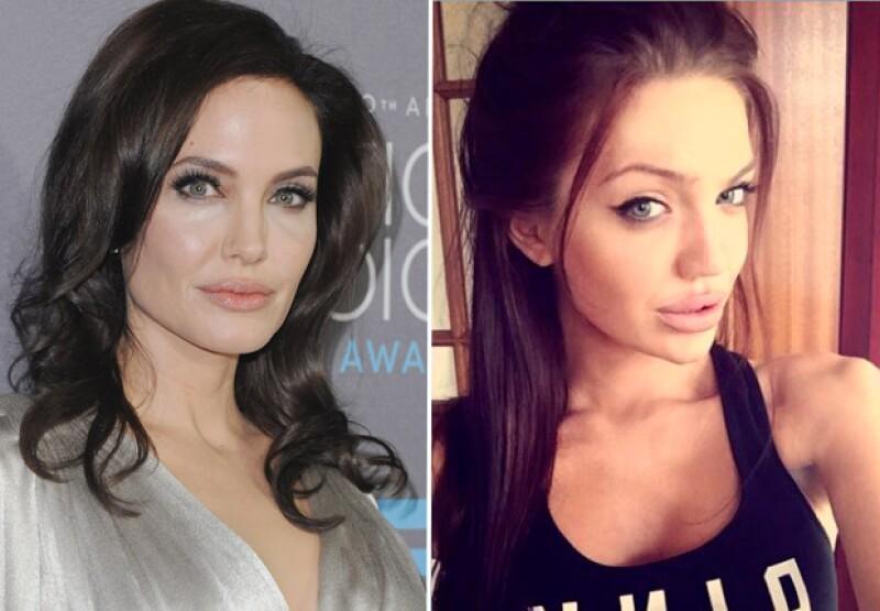 Angelina Jolie tiene 40 años y Chelsea Marr sólo 24, pero son muy parecidas.