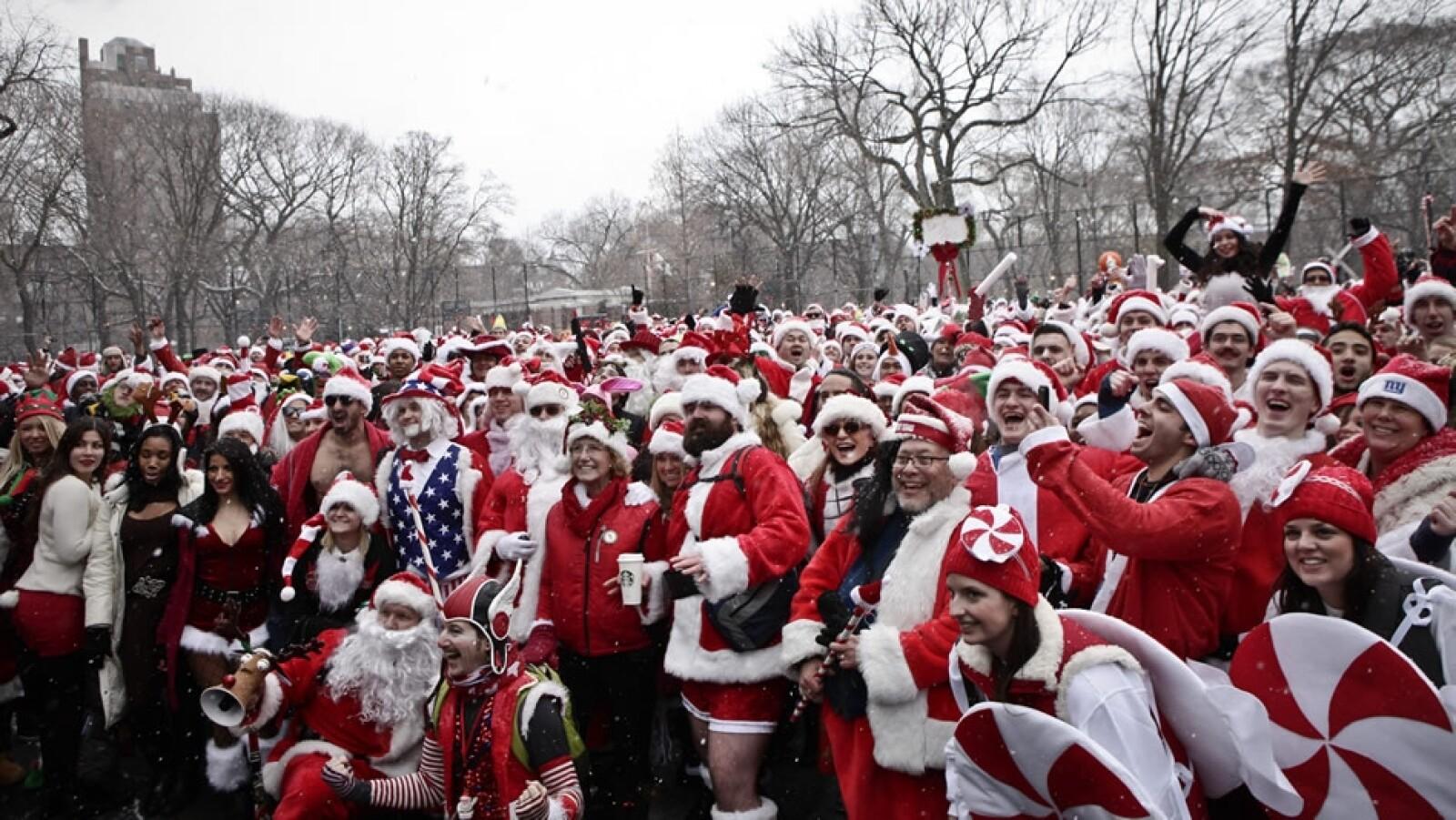 conglomeración de Santas en Nueva York